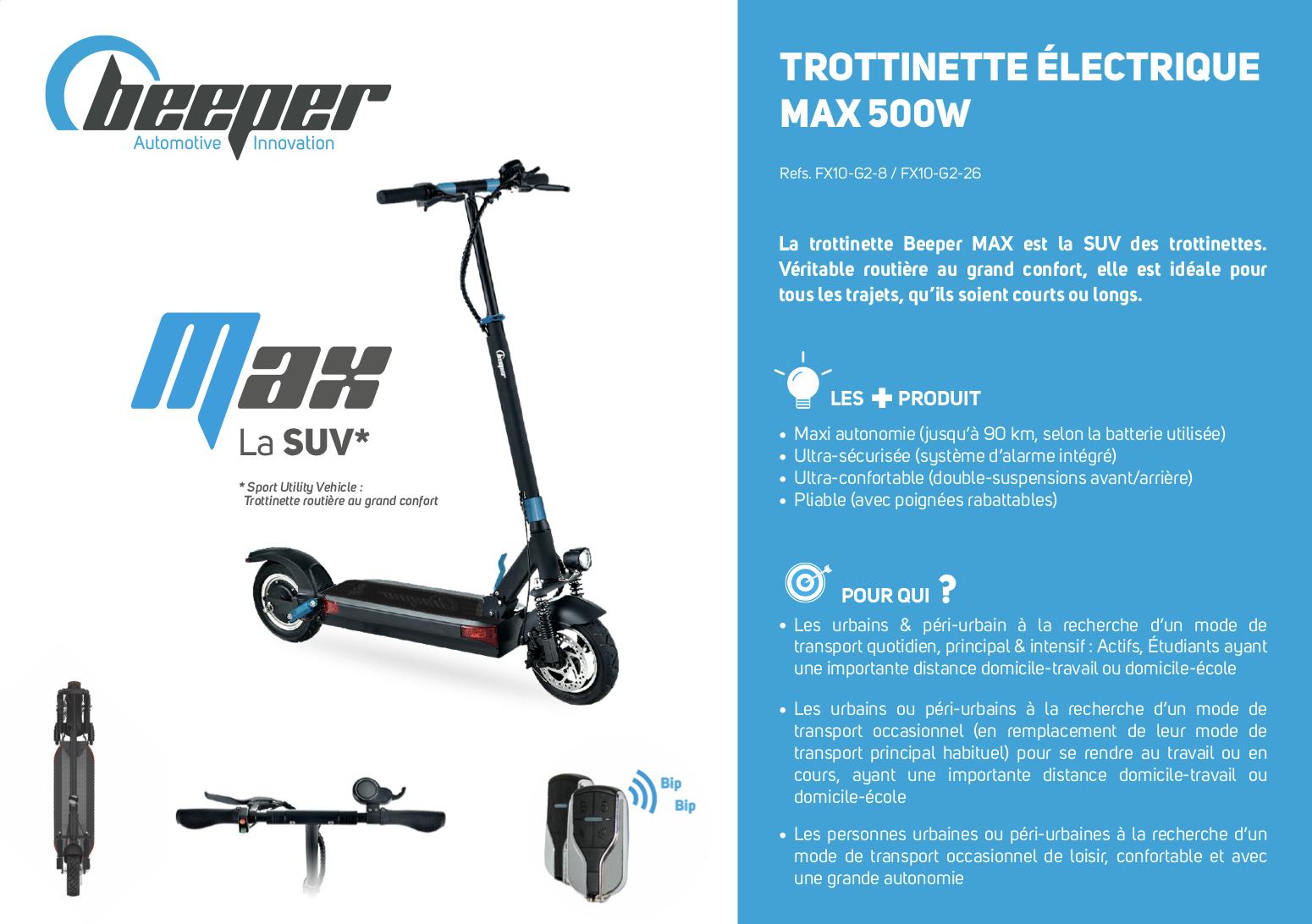 Trottinette électrique Beeper MAX G2 - Fiche produit 8 Ah