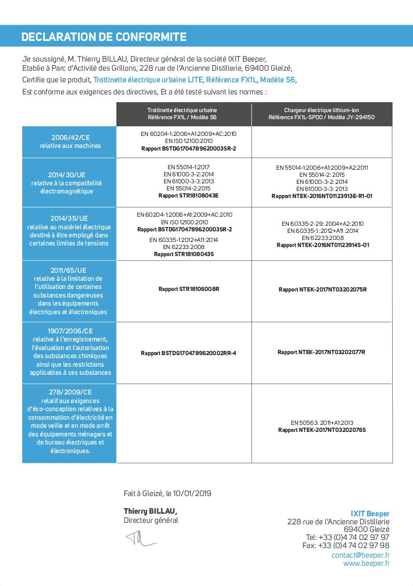 Trottinette électrique LITE - Déclaration de conformité CE