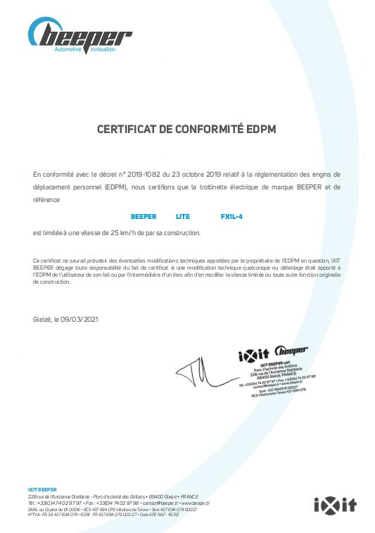 Trottinette électrique LITE - Certificat de conformité EDPM