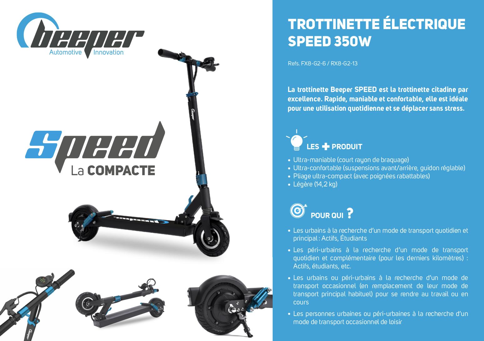 Trottinette électrique Beeper SPEED G2 - Fiche produit 6 Ah