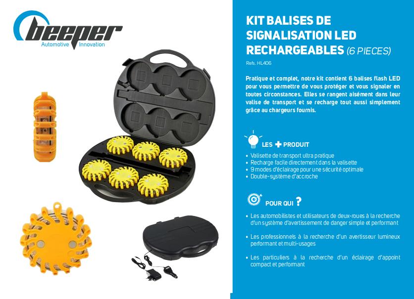 Fiche produit kit de 6 balises de signalisation LED