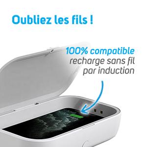 Recharge smartphone sans fil box désinfection UV