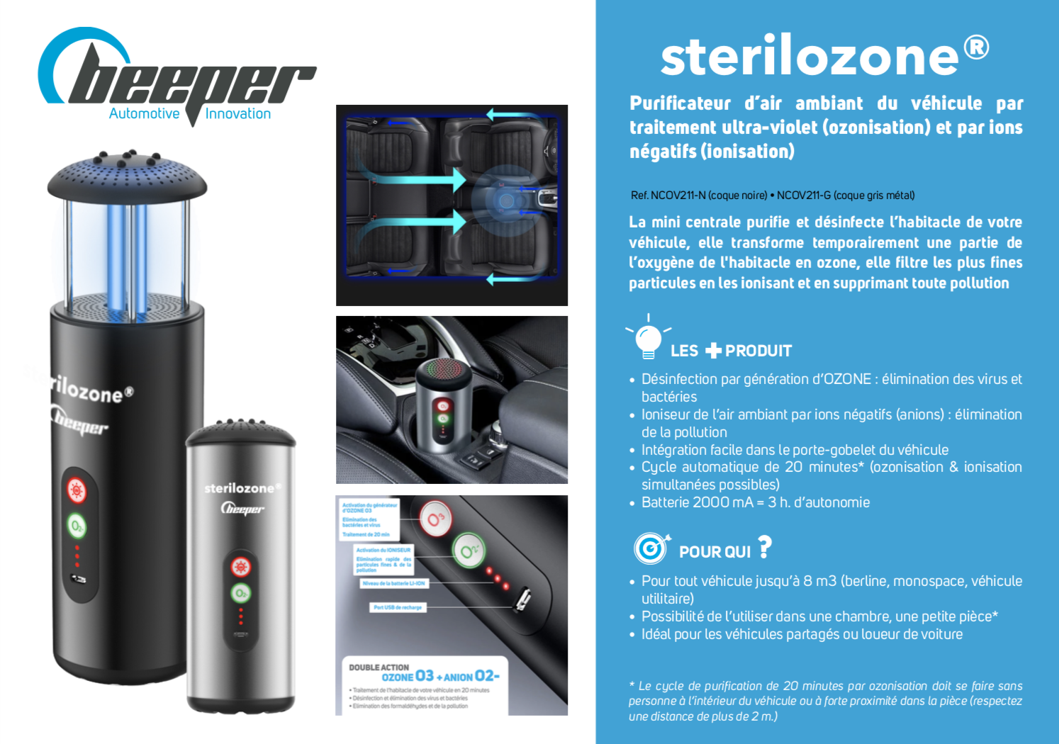 Sterilozone - Purificateur d'air & désinfection pour véhicule