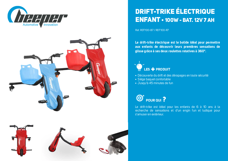 Fiche produit drift-trike électrique Beeper