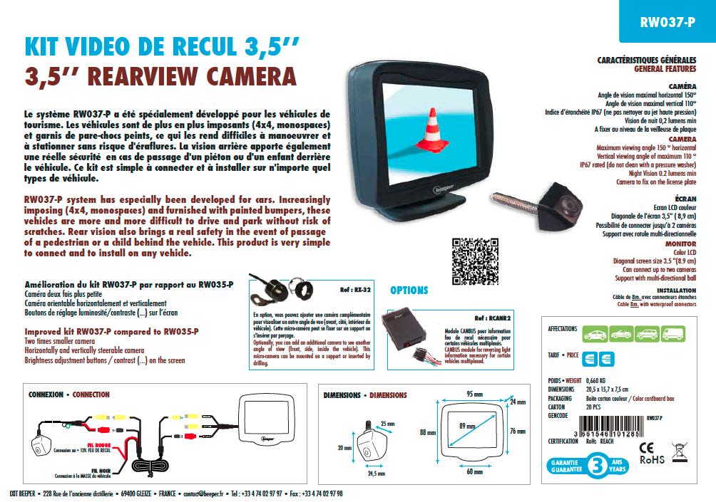 Fiche produit RW037-P Caméra de recul